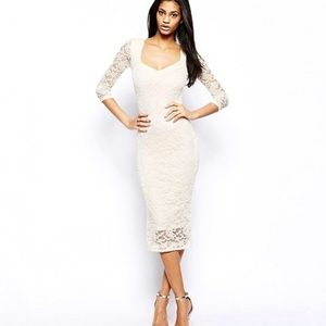 ASOS | Cream Lace Midi Bodycon Dress New 6